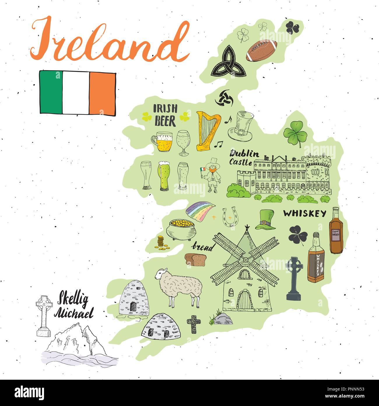 Map Of Ireland In Irish.Ireland Sketch Doodles Hand Drawn Irish Elements Set With Flag And