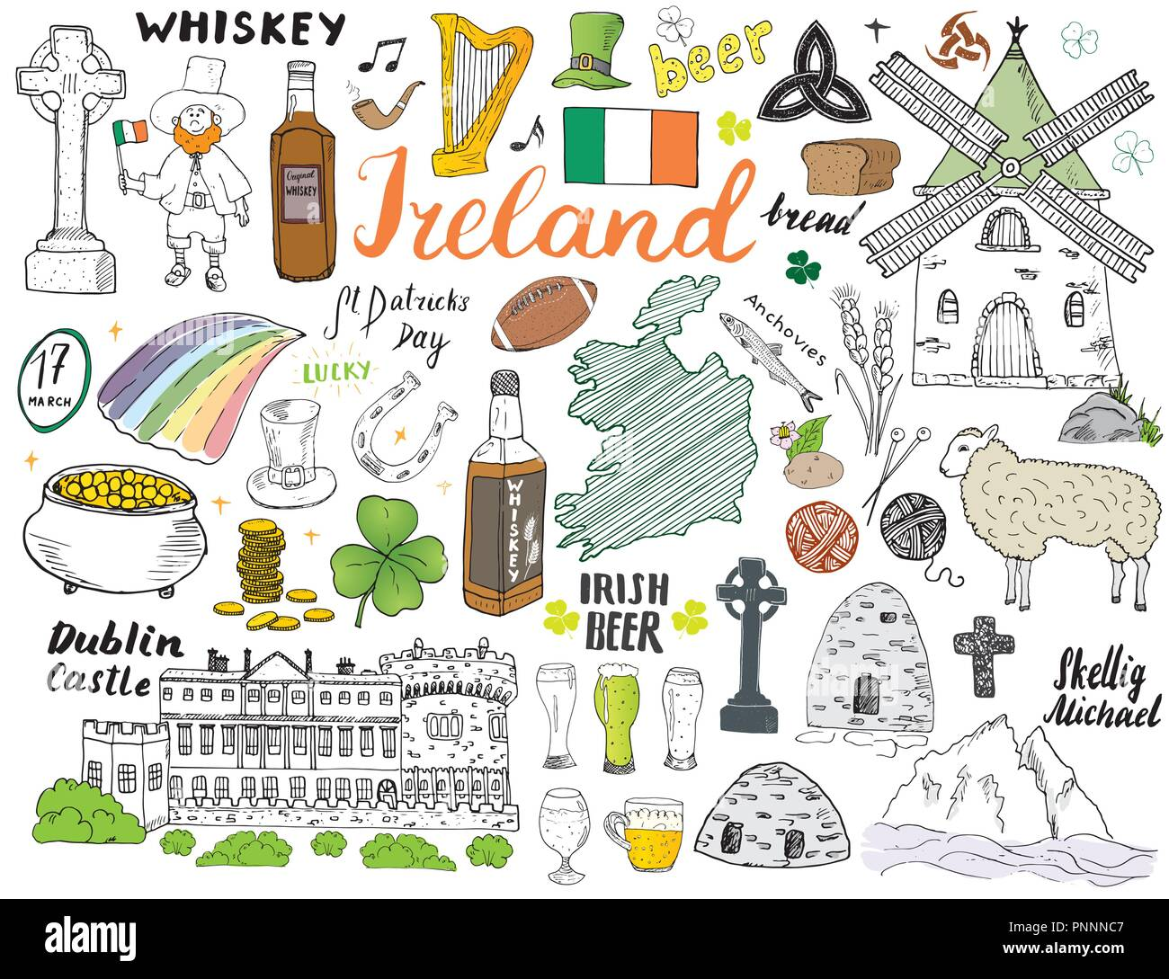 Sketch Map Of Ireland.Ireland Sketch Doodles Hand Drawn Irish Elements Set With Flag And