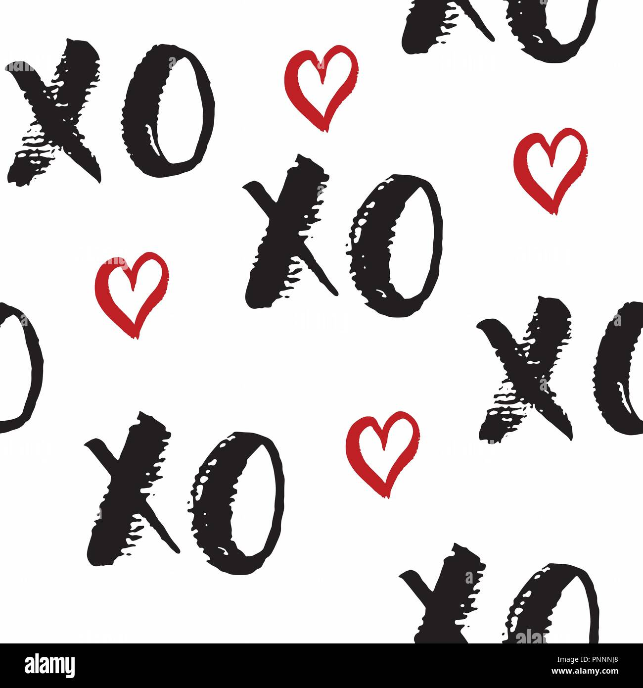 Xoxo Brush Lettering Signs Seamless Pattern Grunge Calligraphiv C