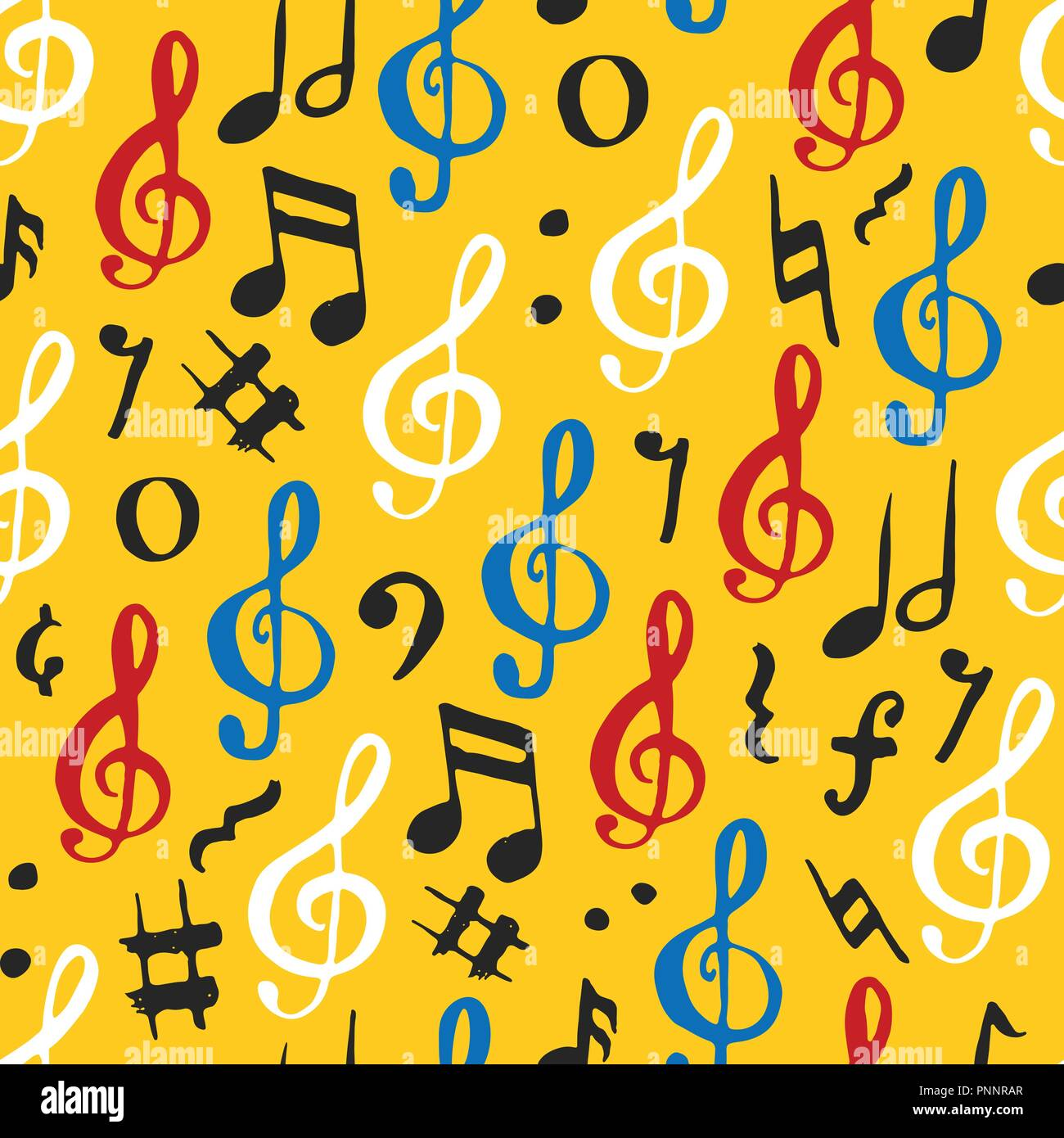 Music Note Seamless Pattern Vector Illustration Hand Drawn Sketched