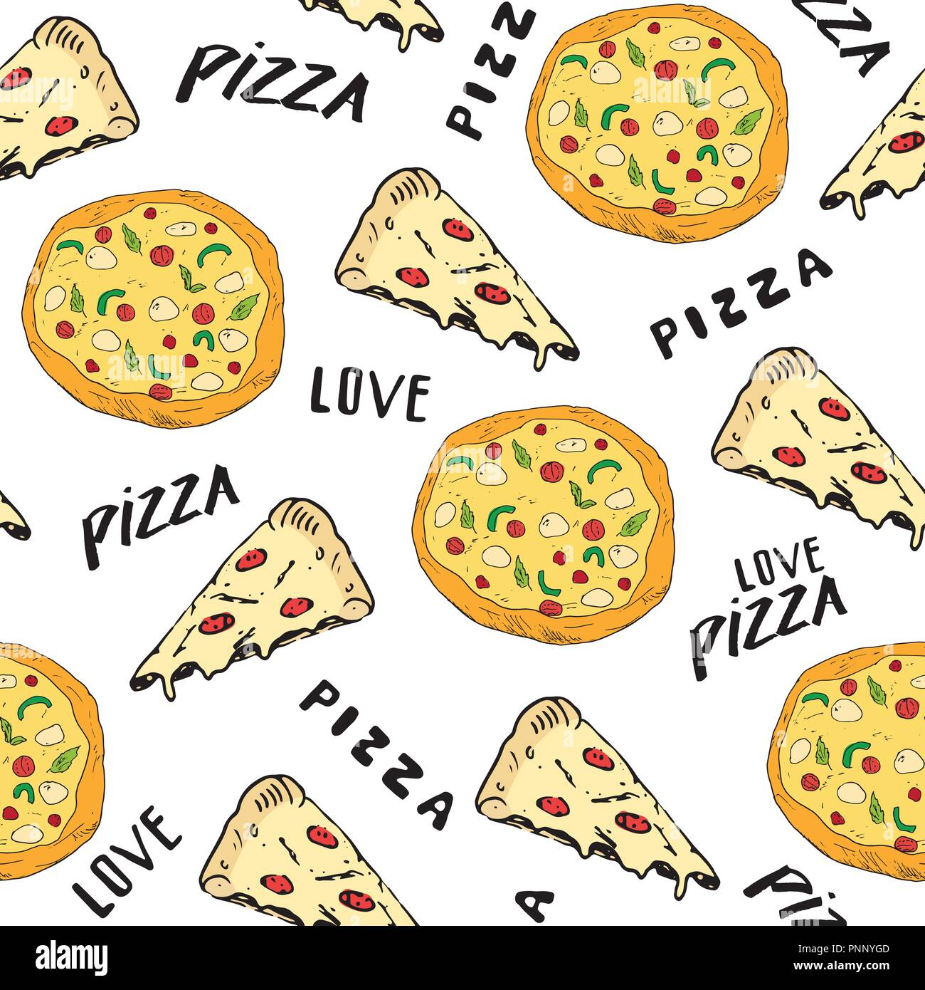 Pizza seamless pattern hand drawn sketch  Pizza slice