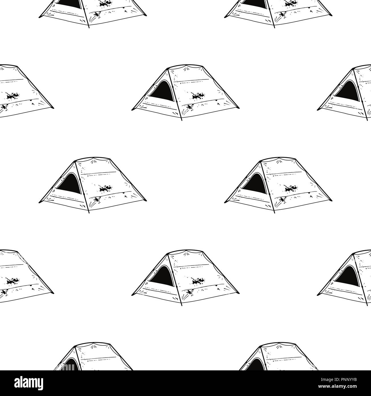 Line art Tent seamless pattern. Silhouette distressed style. Outdoor adventure wallpaper background. Stock vector illustration