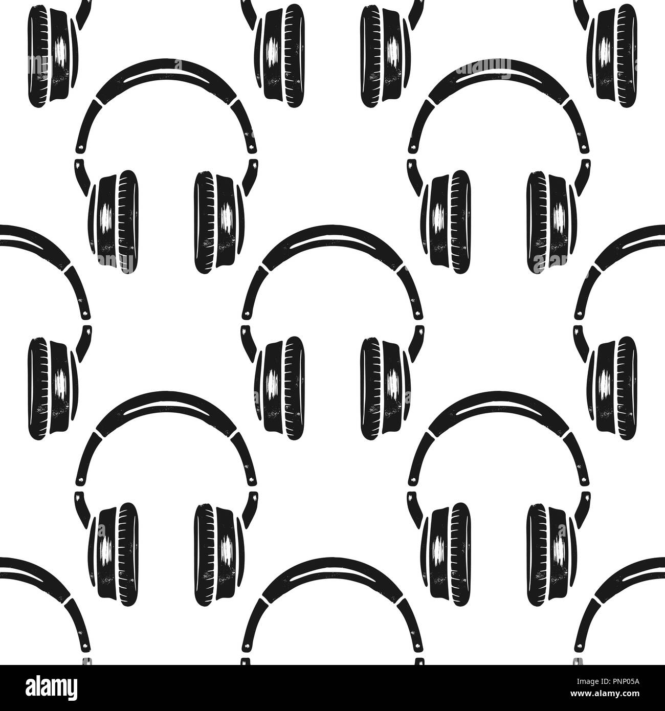 Headphones Seamless Pattern Music Symbol Silhouette Distressed