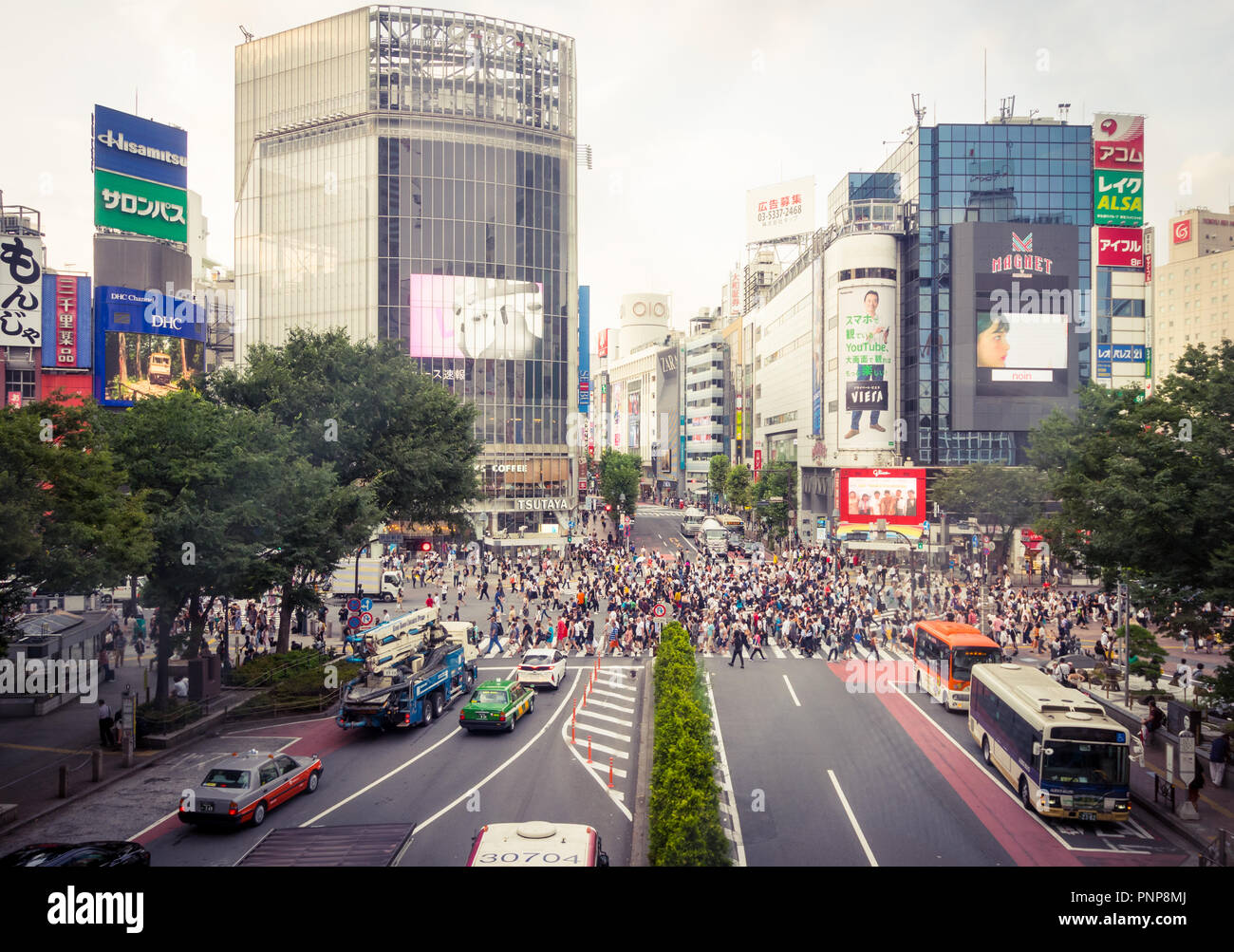 The busy Shibuya scramble crossing (Shibuya Crossing), reputed to be the busiest crosswalk in the world.  Shibuya, Tokyo, Japan. - Stock Image