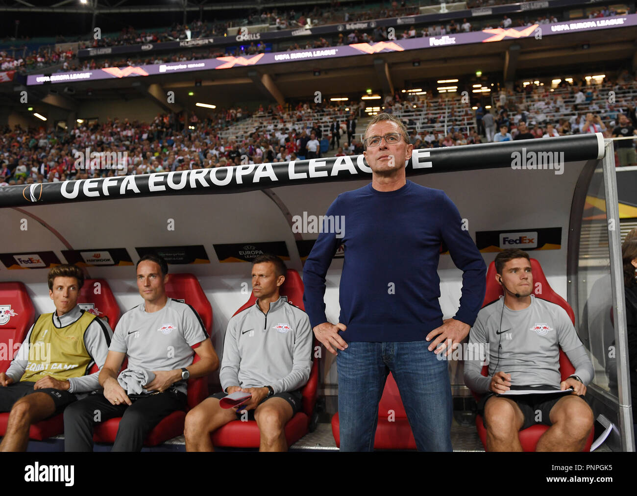 Leipzig Saxony 20th Sep 2018 Soccer Europa League Rb Leipzig Rb Salzburg Group Stage Group B Matchday 1 Leipzig Coach And Sports Director Ralf Rangnick Is About To Start The Game