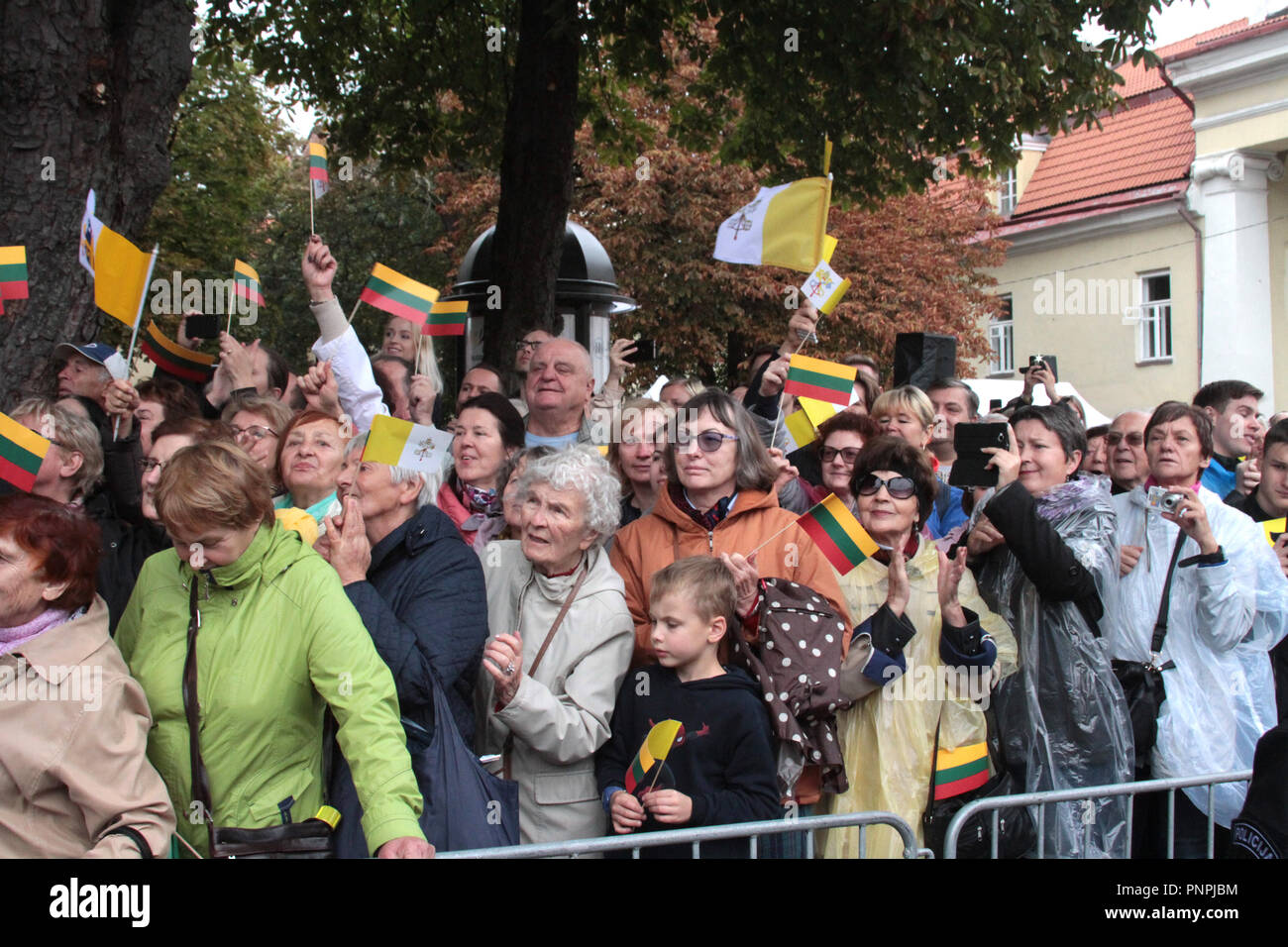 Vilnius, Lithuania  22nd Sep, 2018  People attend Pope