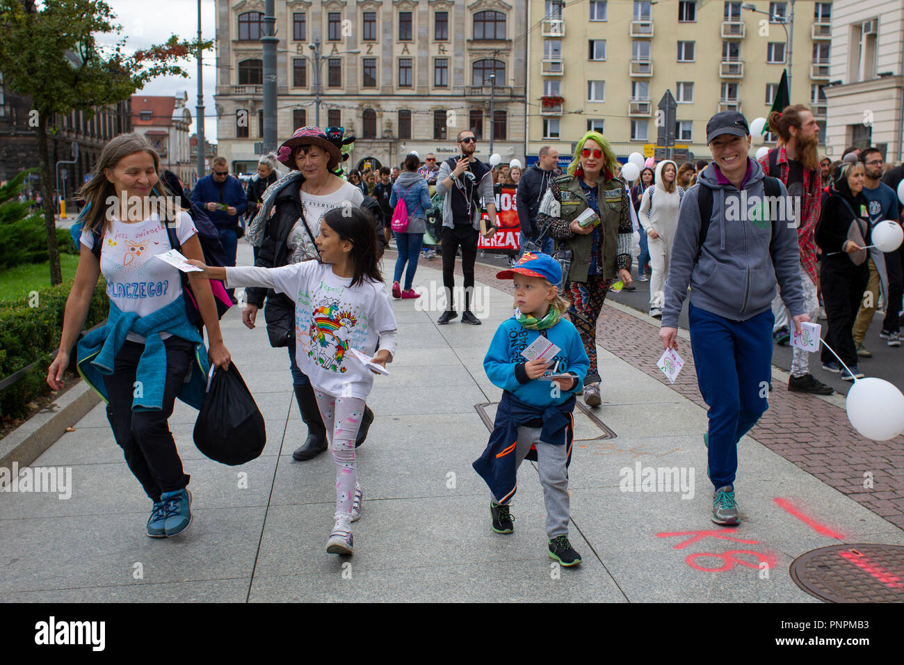 Poznan, Poland 22nd September 2018. Animal Love Parade. Nationwide parade for the rights and liberation of animals. A positive colorful parade of animal rights defenders. Credit: Slawomir Kowalewski/Alamy Live News - Stock Image