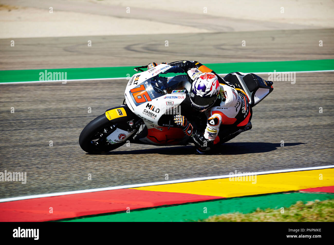 22nd September 2018, Ciudad del Motor de Aragon, Alcaniz, Spain; Motorcycling MotoGP of Aragon, Qualification; Joe Roberts of the NTS RW Moto2 Team rounds the bend during the qualifying - Stock Image