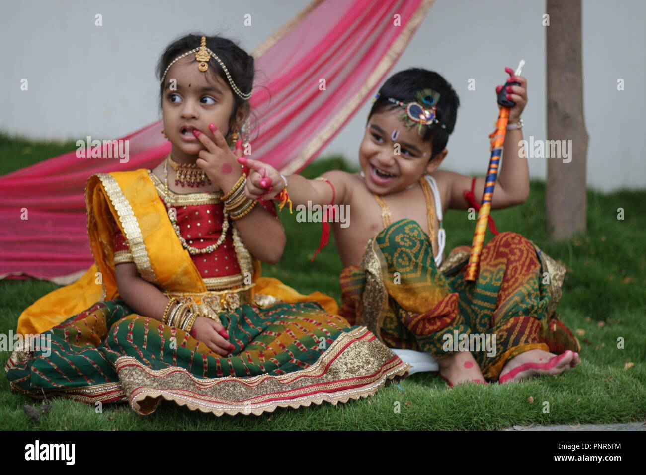 Image of: Radhe Krishna Indian Cute Kids Radha Krishna Freshwallpapersnet Indian Cute Kids Radha Krishna Stock Photo 219942232 Alamy
