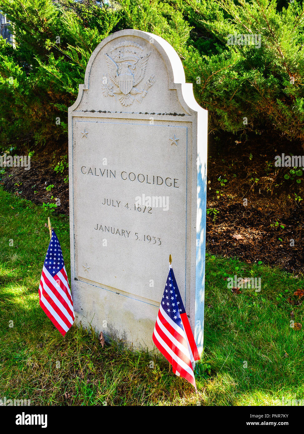 Plymouth Notch, VT, USA - Headstone, Calvin Coolidge. Born on July 4, 1872, Calvin Coolidge  was the 30th President of the United States. Stock Photo
