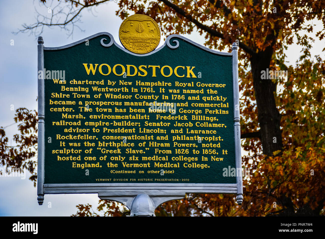 Woodstock, VT - Oct. 25, 2014: Woodstock History Signage - Erected by the Vermont Division for Historic Preservation in 2010. - Stock Image