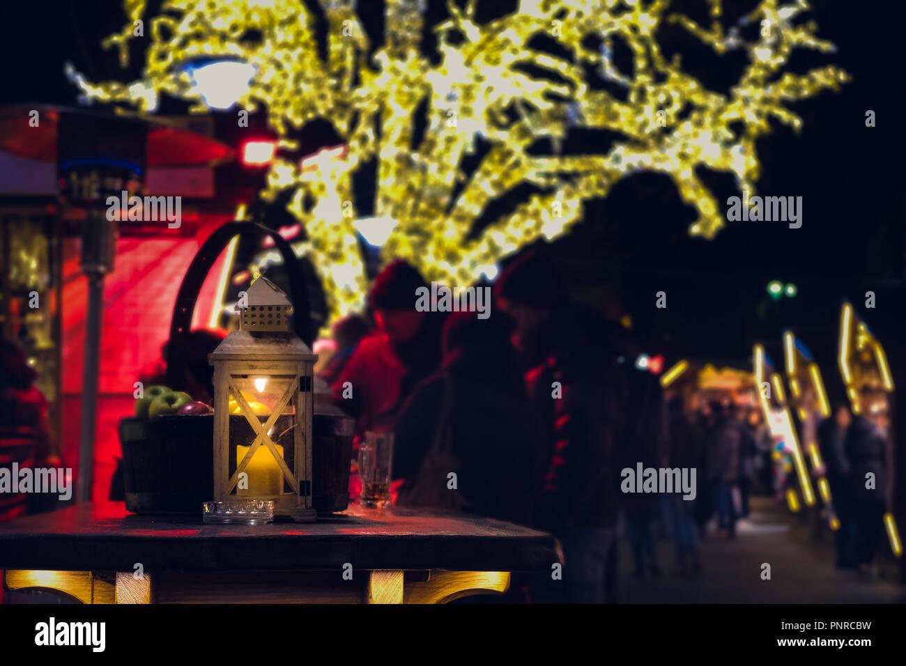 lantern light table christmas markets night stall Bressanone Bolzano Europe - Stock Image
