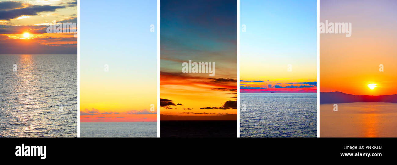 Beautiful  sundowns over sea -- Set of HD 16:9 screen wallpapers for smartphone - Stock Image