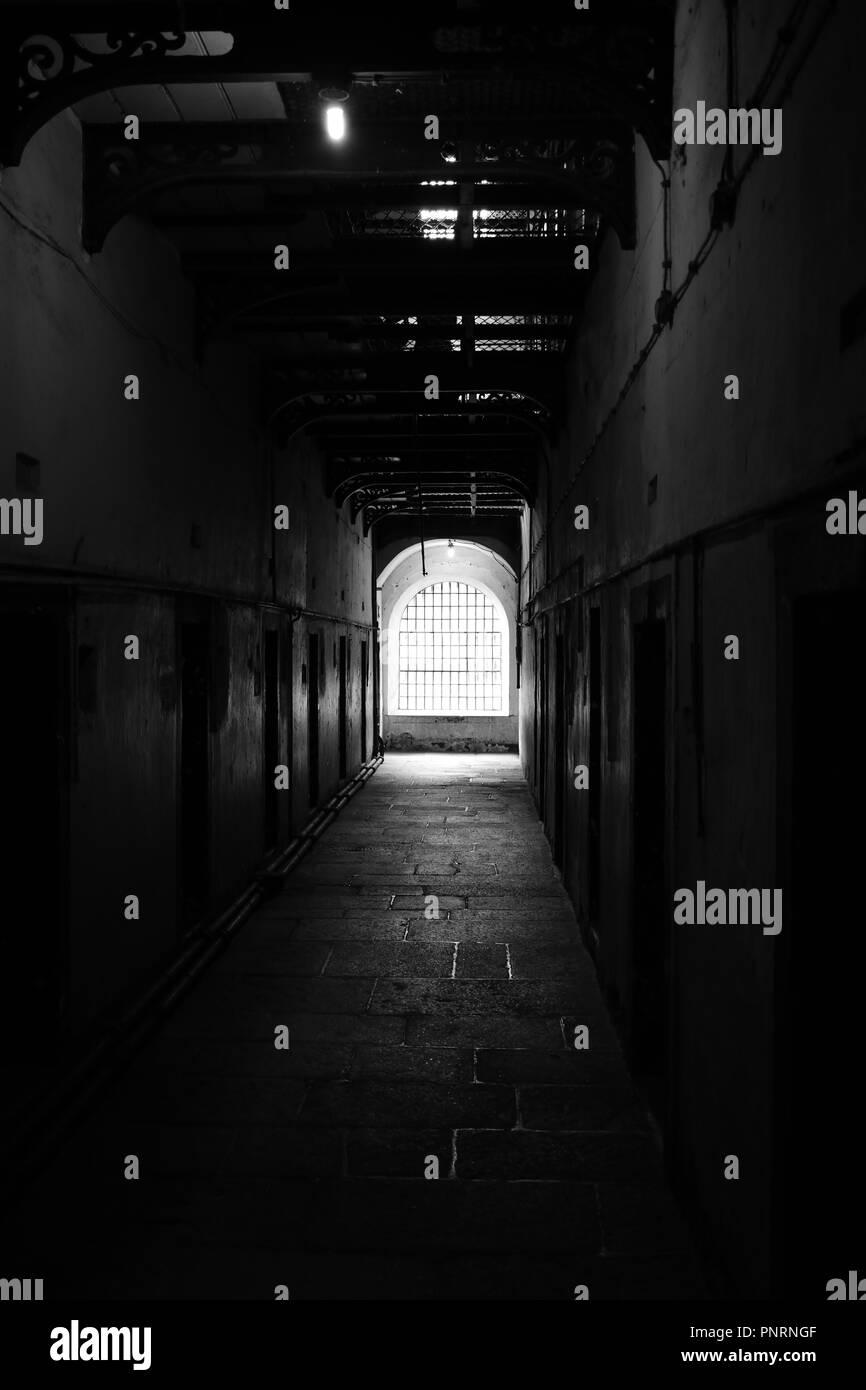 A corridor of the famous Kilmainham Gaol, Dublin - Stock Image