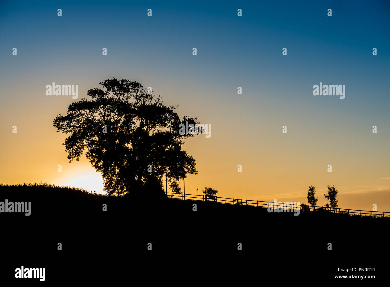 The sun rising as it lights up the hamlet  of Lower Bockhampton near Dorchester. - Stock Image