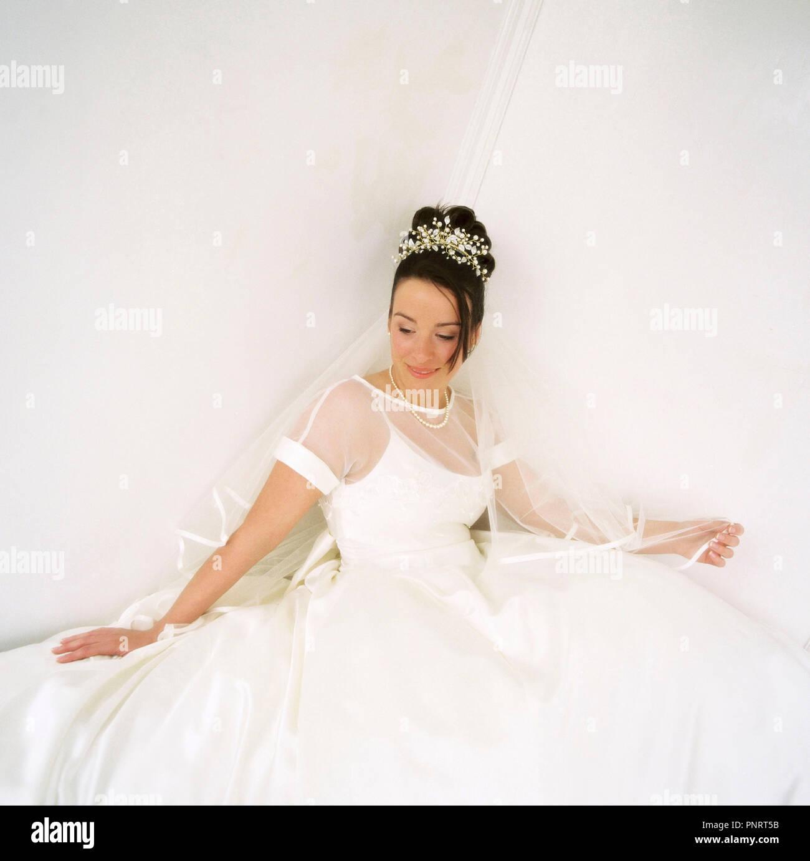Young woman. Bride. Studio portrait. - Stock Image