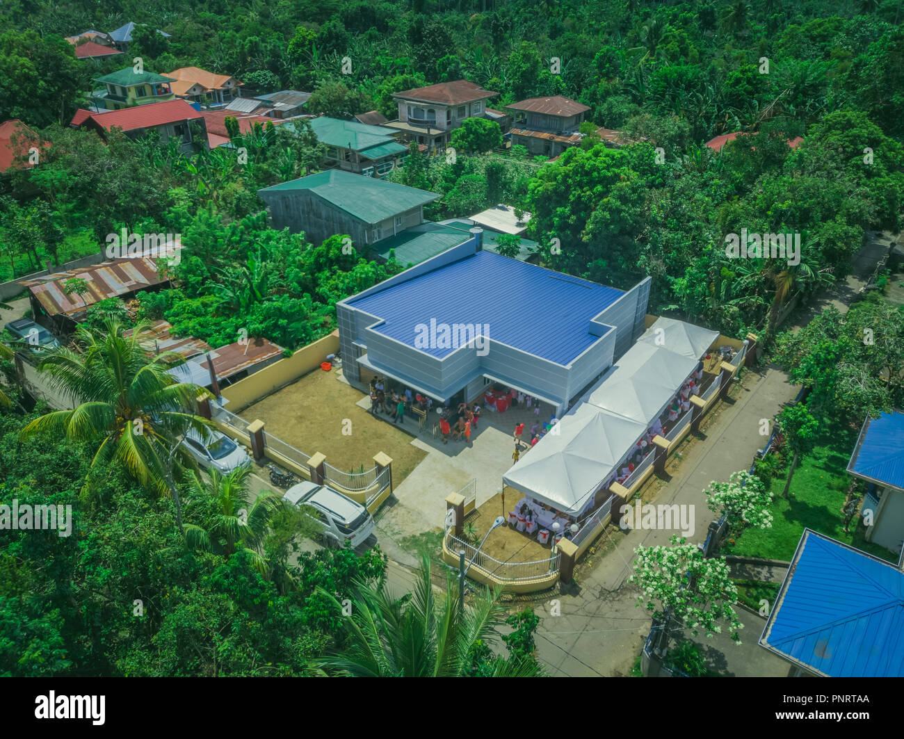 Modern house in a rural area in Philippines - Stock Image