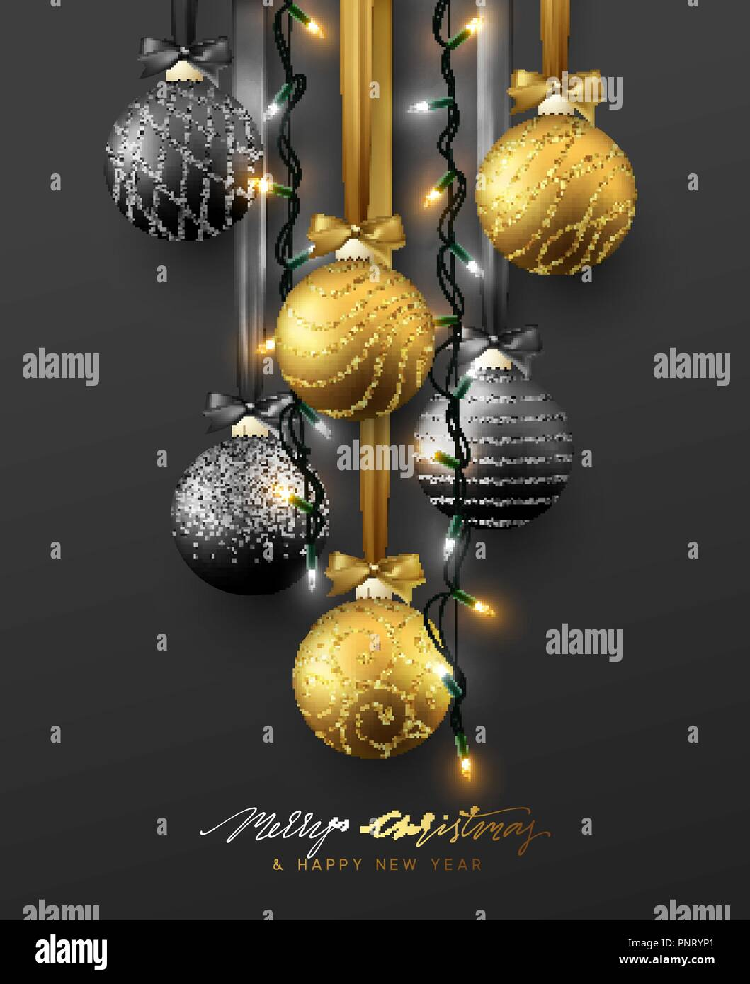 Traditional Christmas Decoration Hanging On Ribbon Xmas Balls In Gold And Black Colors And Christmas Lights Garland Realistic View Of Object Isolated On