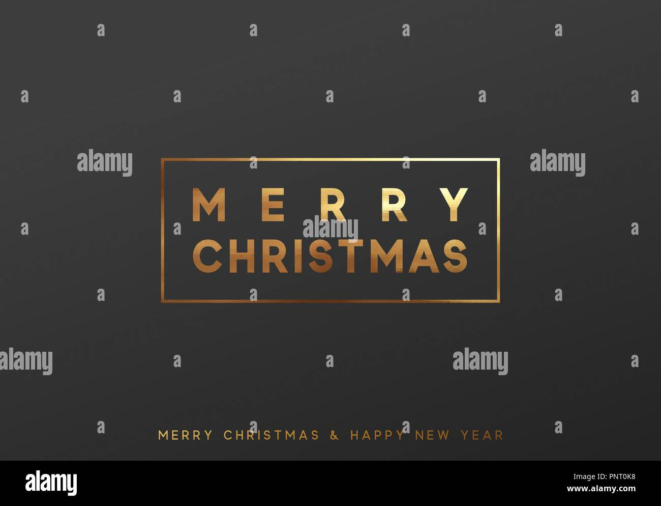 Merry Christmas gold lettering in a frame background. - Stock Image