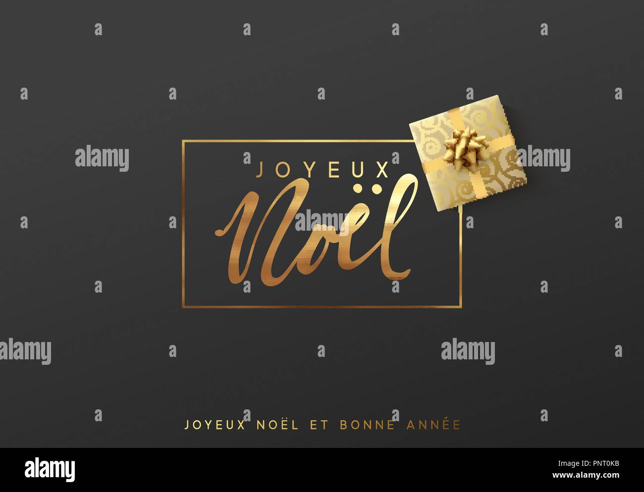 French text Joyeux Noel. Merry Christmas gold lettering in a frame background. - Stock Image