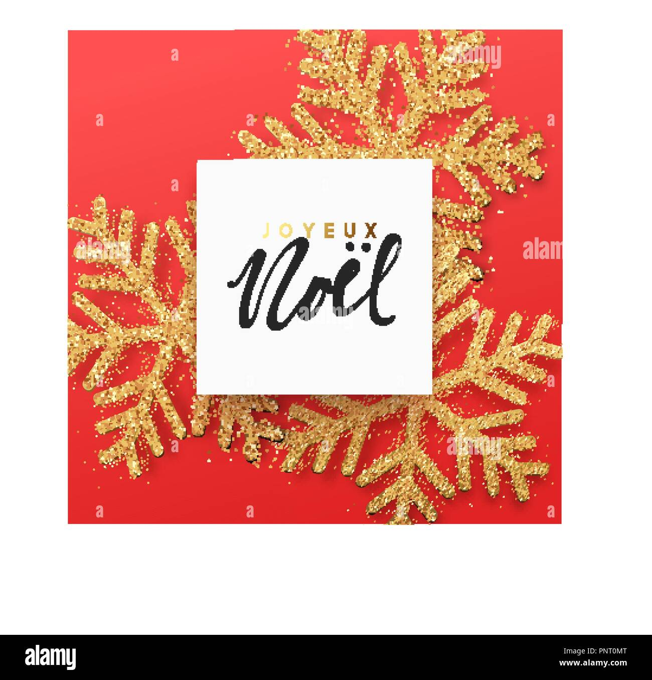 French text joyeux noel christmas background with shining gold french text joyeux noel christmas background with shining gold snowflakes lettering merry christmas greeting card vector illustration m4hsunfo