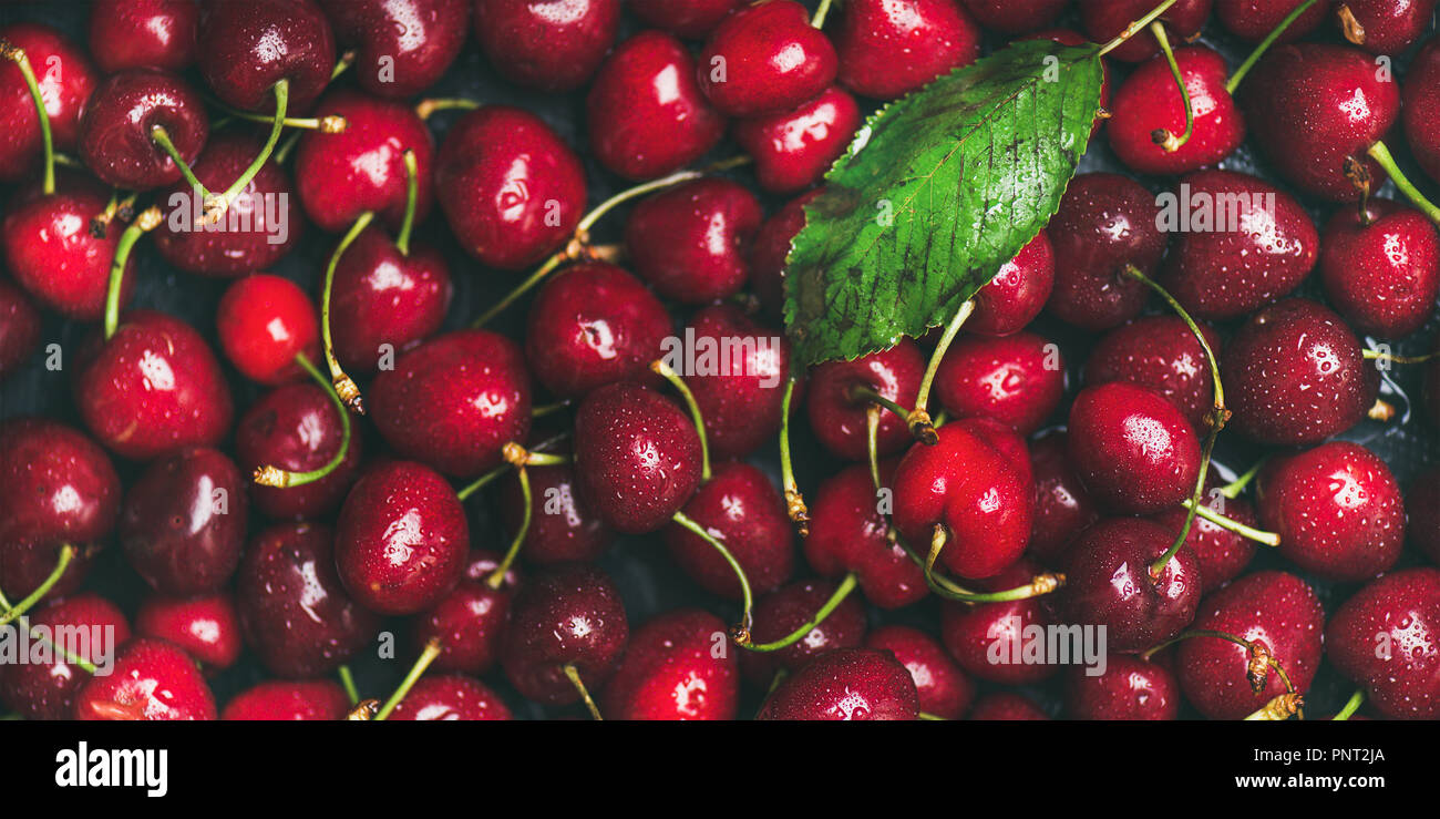 Fresh sweet cherry texture, wallpaper and background - Stock Image