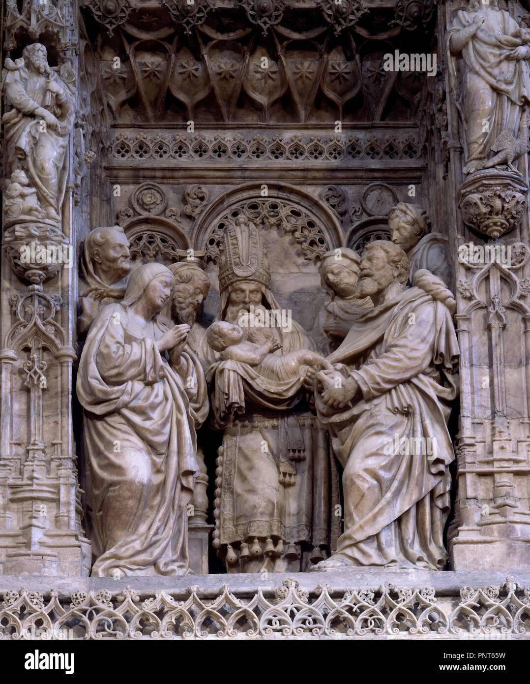 INTERIOR-RETABLO MAYOR-1509-DET CIRCUNCISION. Author: FORMENT DAMIAN.  Location: BASILICA DEL PILAR. SARAGOSSA. Saragossa Zaragoza. SPAIN.