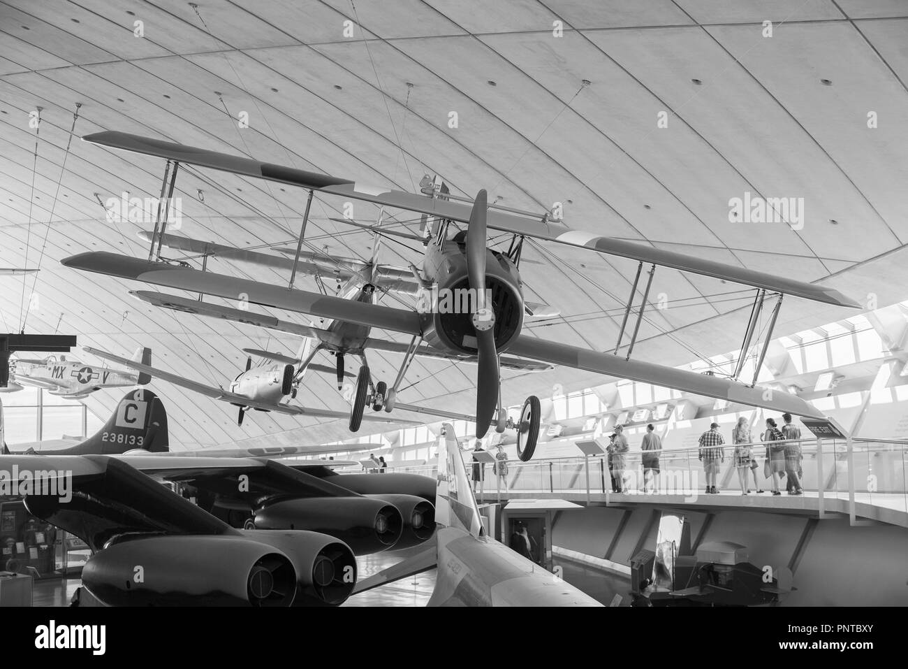 Mixture of U.S and British military Aircraft on display in Duxford Museum - Stock Image