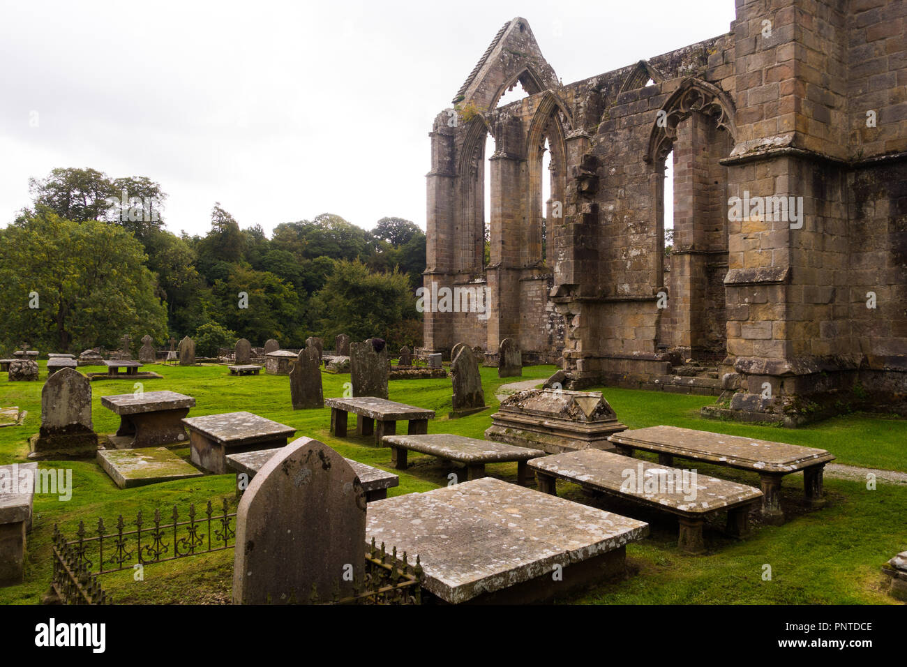 Table top tombs at Bolton Abbey in Wharfedale, Yorkshire, England - Stock Image
