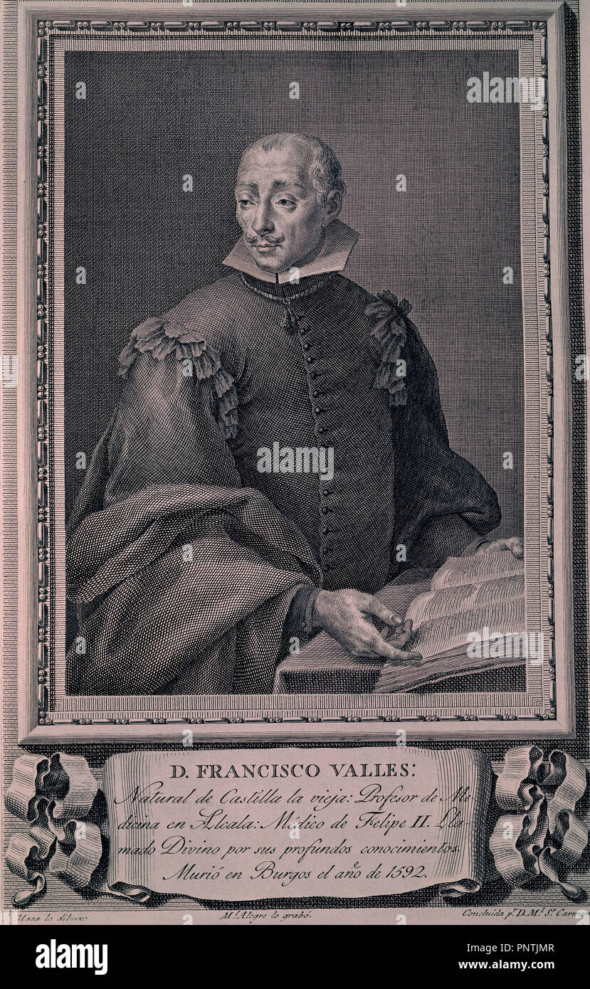 DON FRANCISCO VALLES CALLED 'THE DIVINE'. DOCTOR OF FELIPE II, DRAWING OF MAEA J., BURIN 35x26, COPPER, NºINV 3135. Author: ALEGRE MANUEL. Location: CALCOGRAFIA NACIONAL. MADRID. SPAIN. - Stock Image