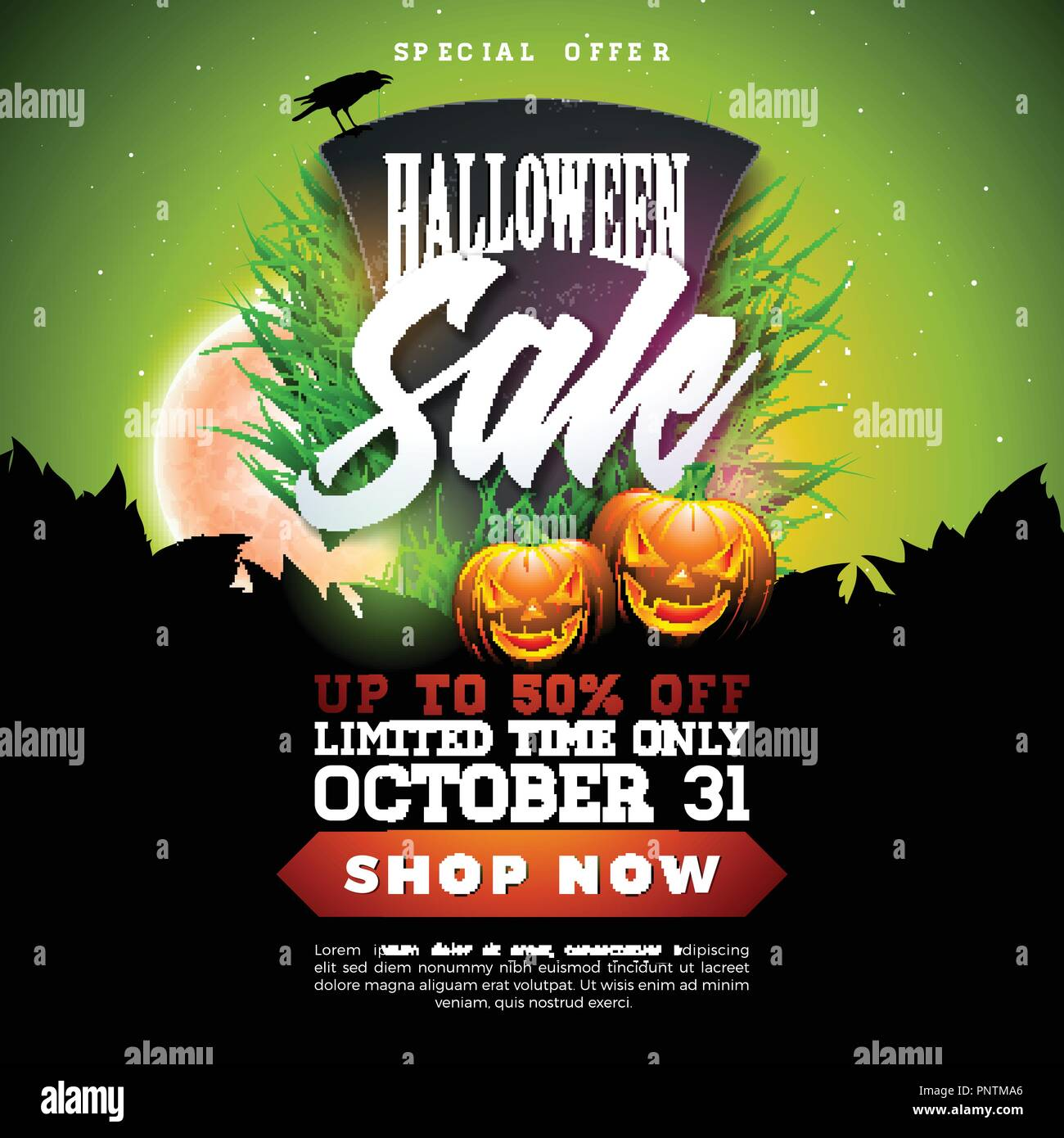 Halloween Sale Banner Illustration With Tombstone Pumpkins Moon And Flying Bats On Red Night Sky Background Vector Holiday Design Template