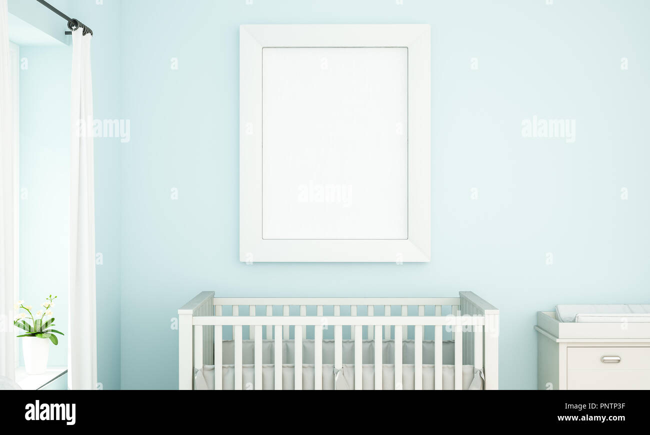 blue baby room with white frame mockup 3d rendering Stock Photo ...