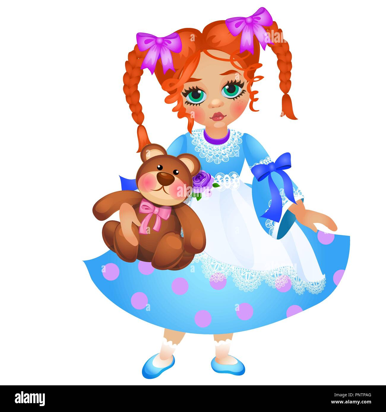 Little redhead girl with two braided pigtails holds toy teddy bear isolated on white background. Vector cartoon close-up illustration. - Stock Vector