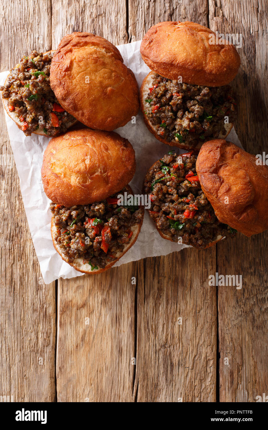 Delicious South African Vetkoek fried donuts stuffed with