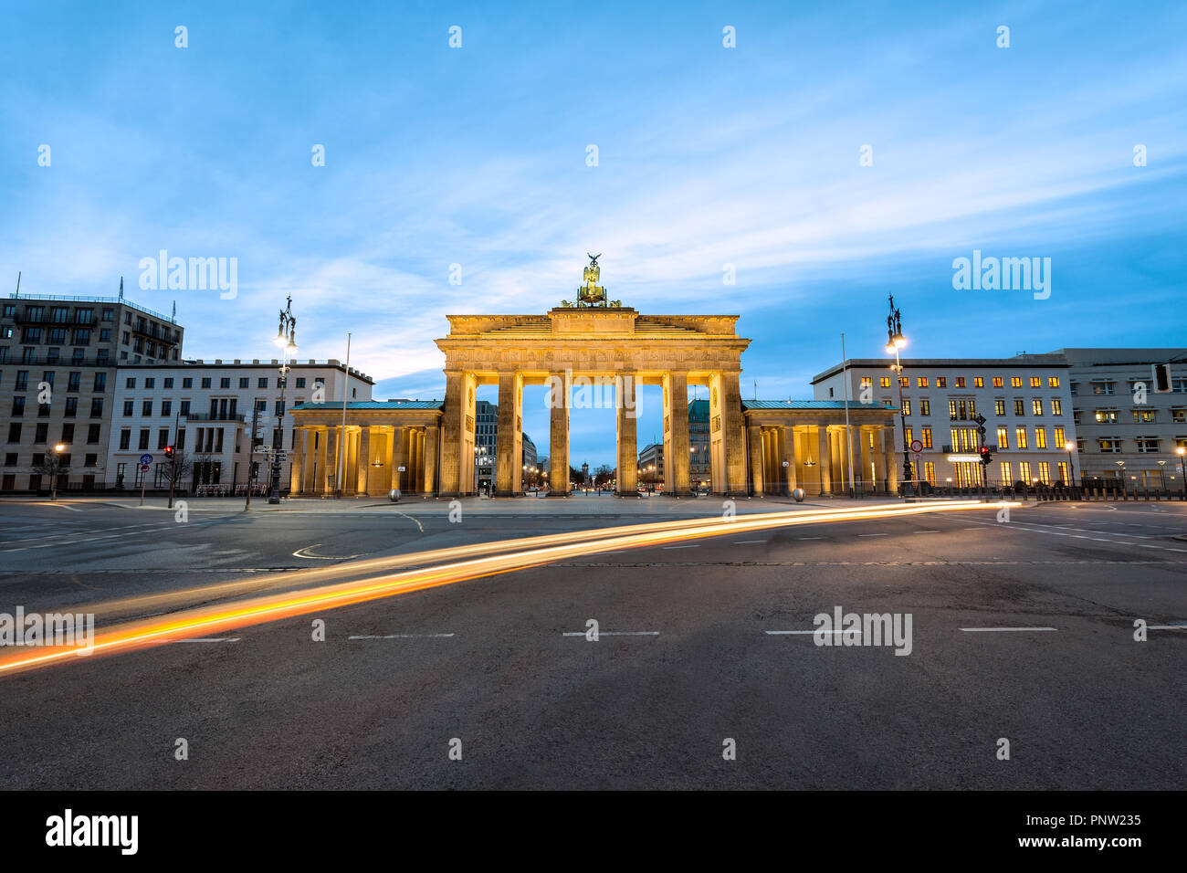 First lights in the morning at Branderburg Gate in Berlin, Germany - Stock Image
