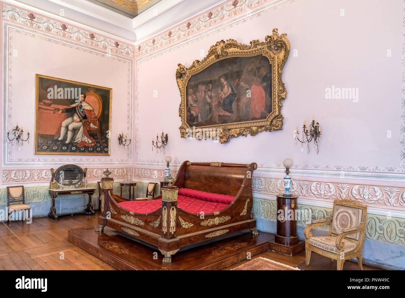 Bedroom in the Palace of Mafra ( Mosteiro Palacio Nacional de Mafra ), Mafra, Portugal - Stock Image