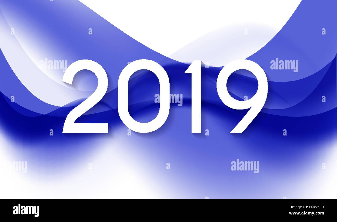 2019 abstract vector illustration of new year on background of colored waves