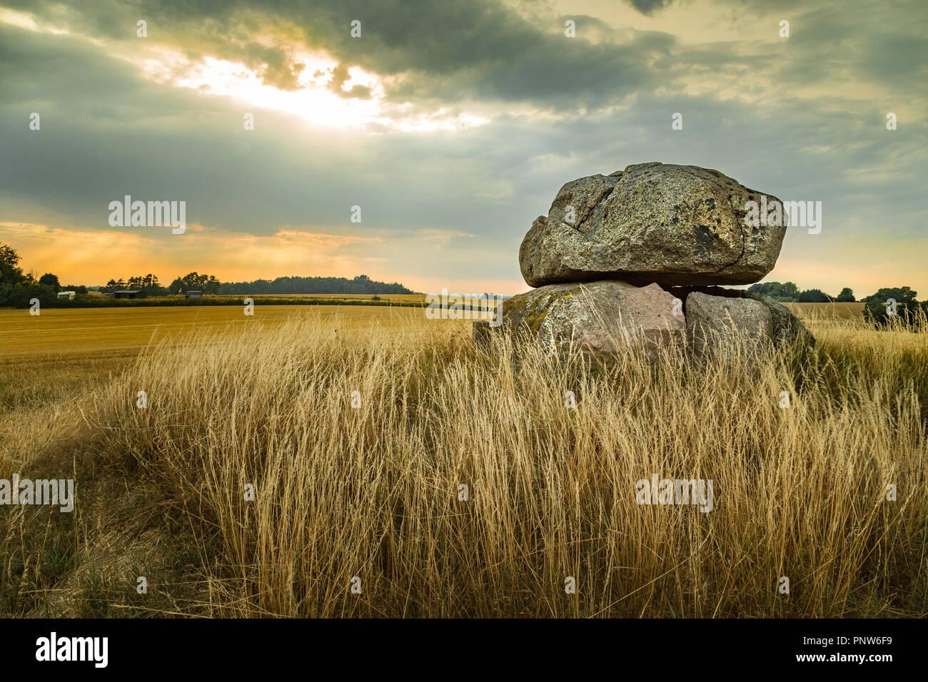 Dolmen in Møn island - Stock Image