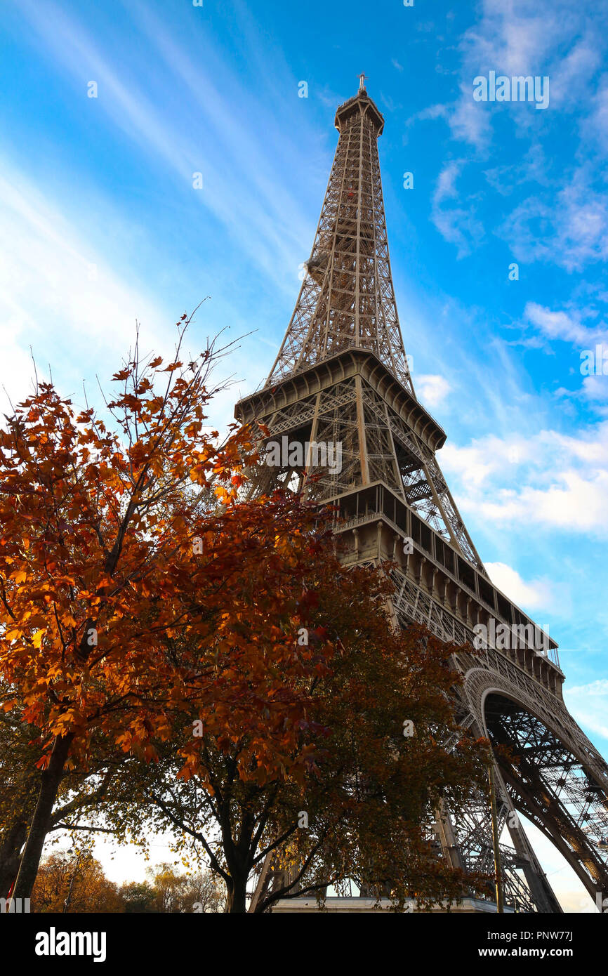 - Color Fall Image Of The Eiffel Tower In Paris, France, Europe, On