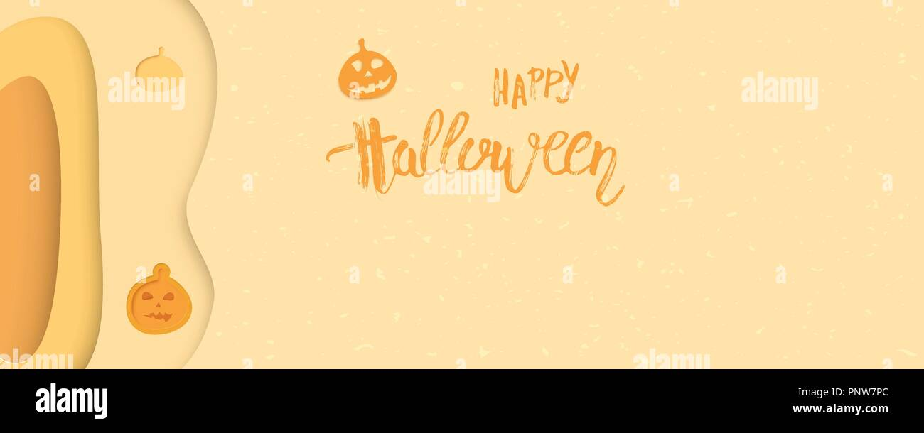 happy halloween template with pumpkin and paper cut shapes and