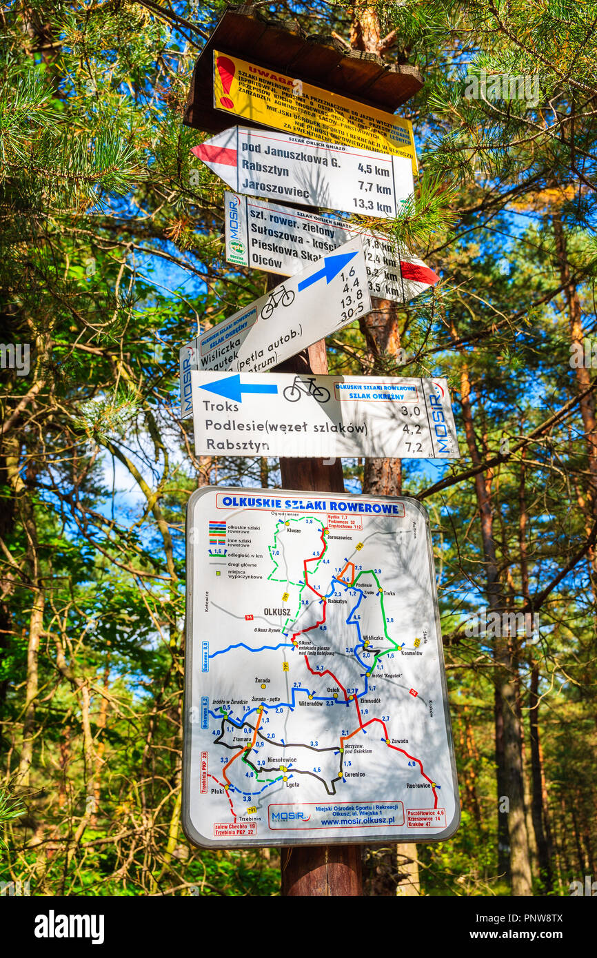 Southern Poland Map.Bike Path Near Olkusz Poland Sep 9 2018 Map With Cycling Routes