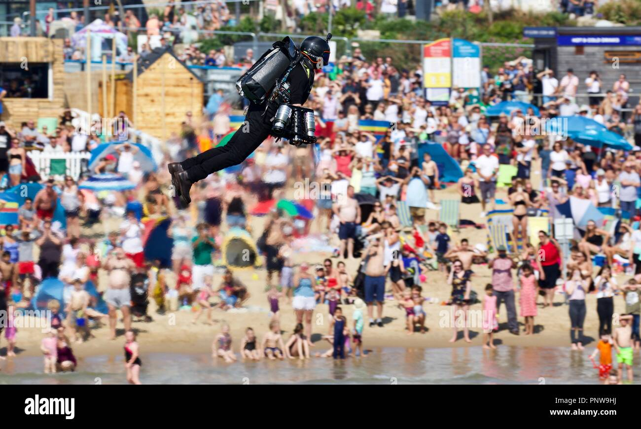 Gravity Industries displaying it's jet power human flight suit in the first public display in the U.K in front of spectators on Bournemouth seafront - Stock Image