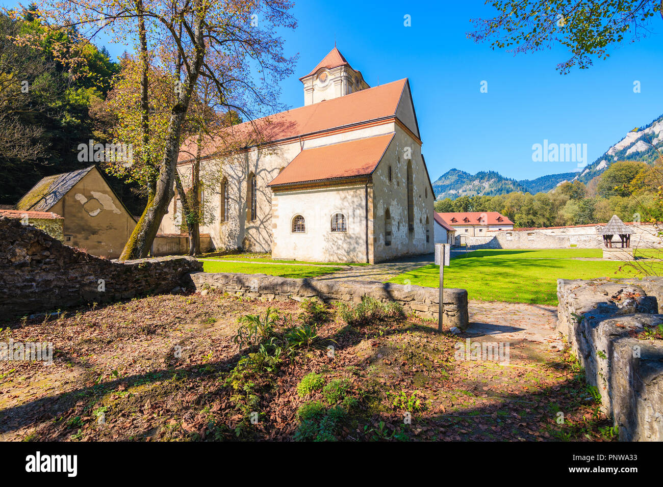 Green park in Cerveny Klastor (Red Monastery) which is located near Dunajec river in Pieniny Mountains, Slovakia - Stock Image
