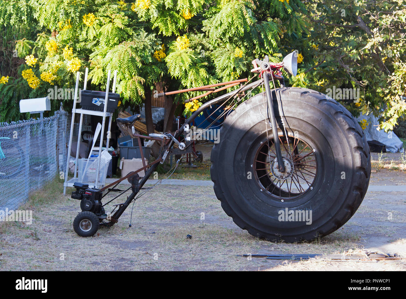 A big tire motorcycle customized in the street - Stock Image