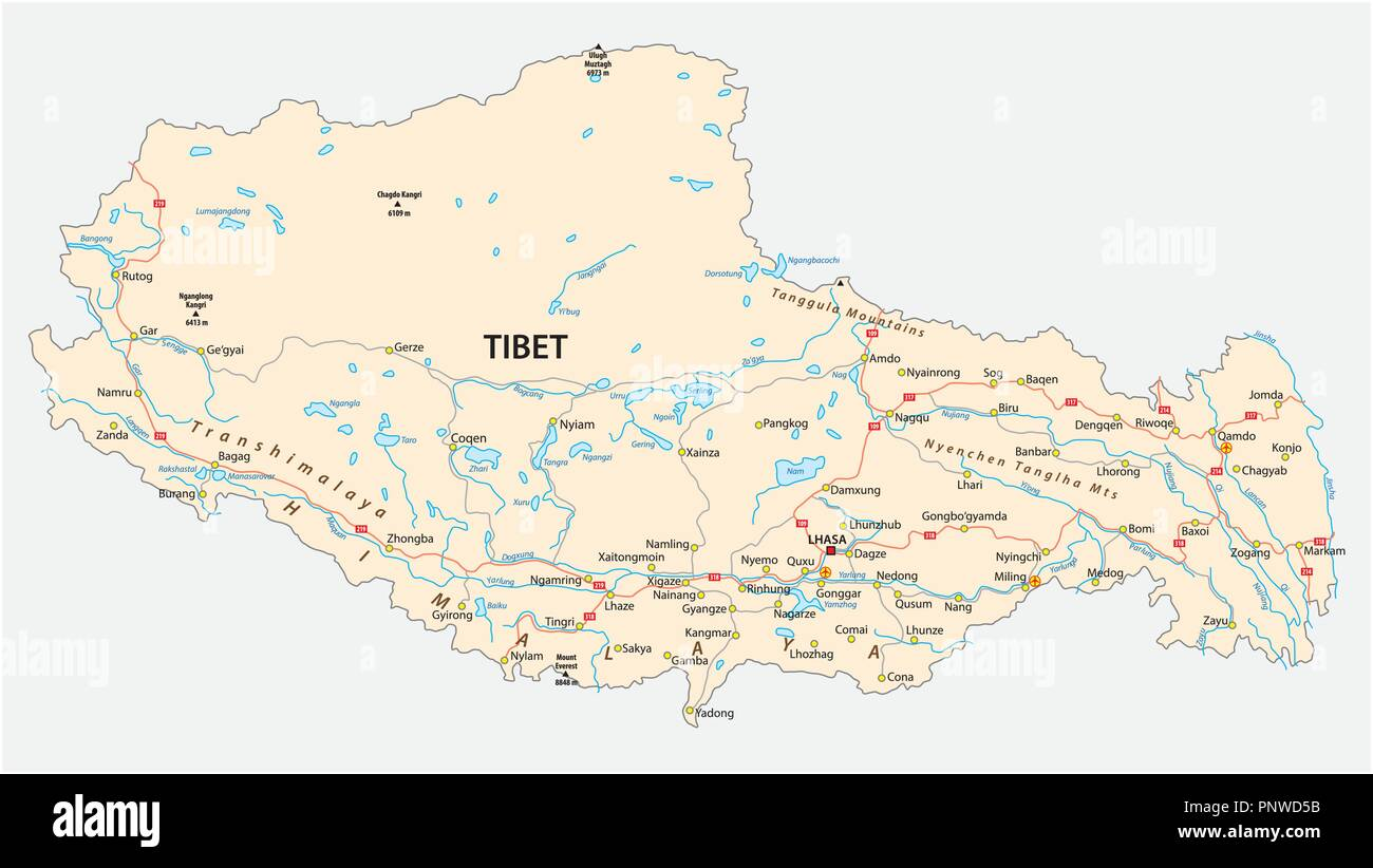 Tibet region with important cities and roads vector map. - Stock Vector