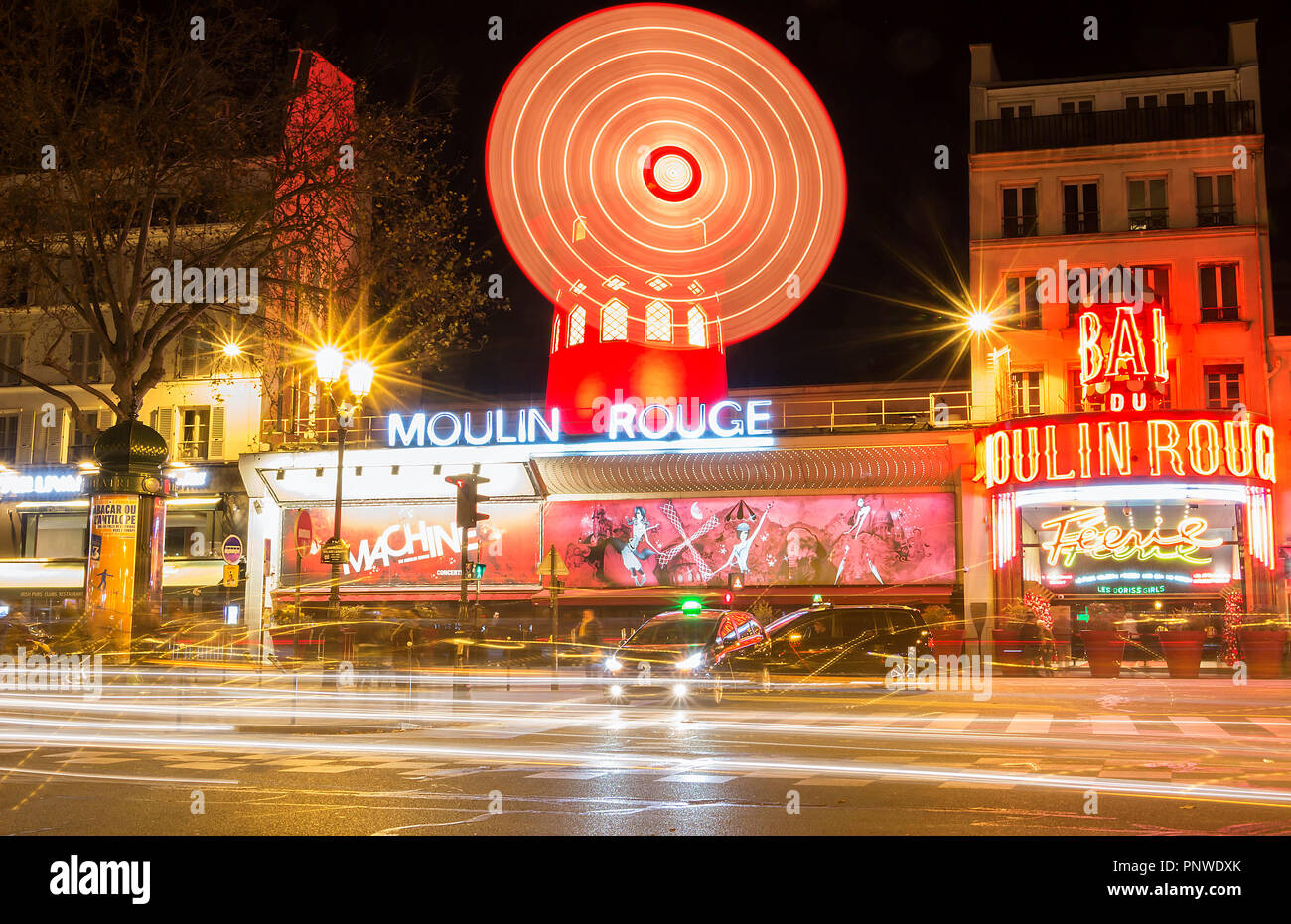 The Moulin Rouge , Paris, France. It is a famous cabaret built in 1889, locating in the Paris red-light district of Pigalle - Stock Image