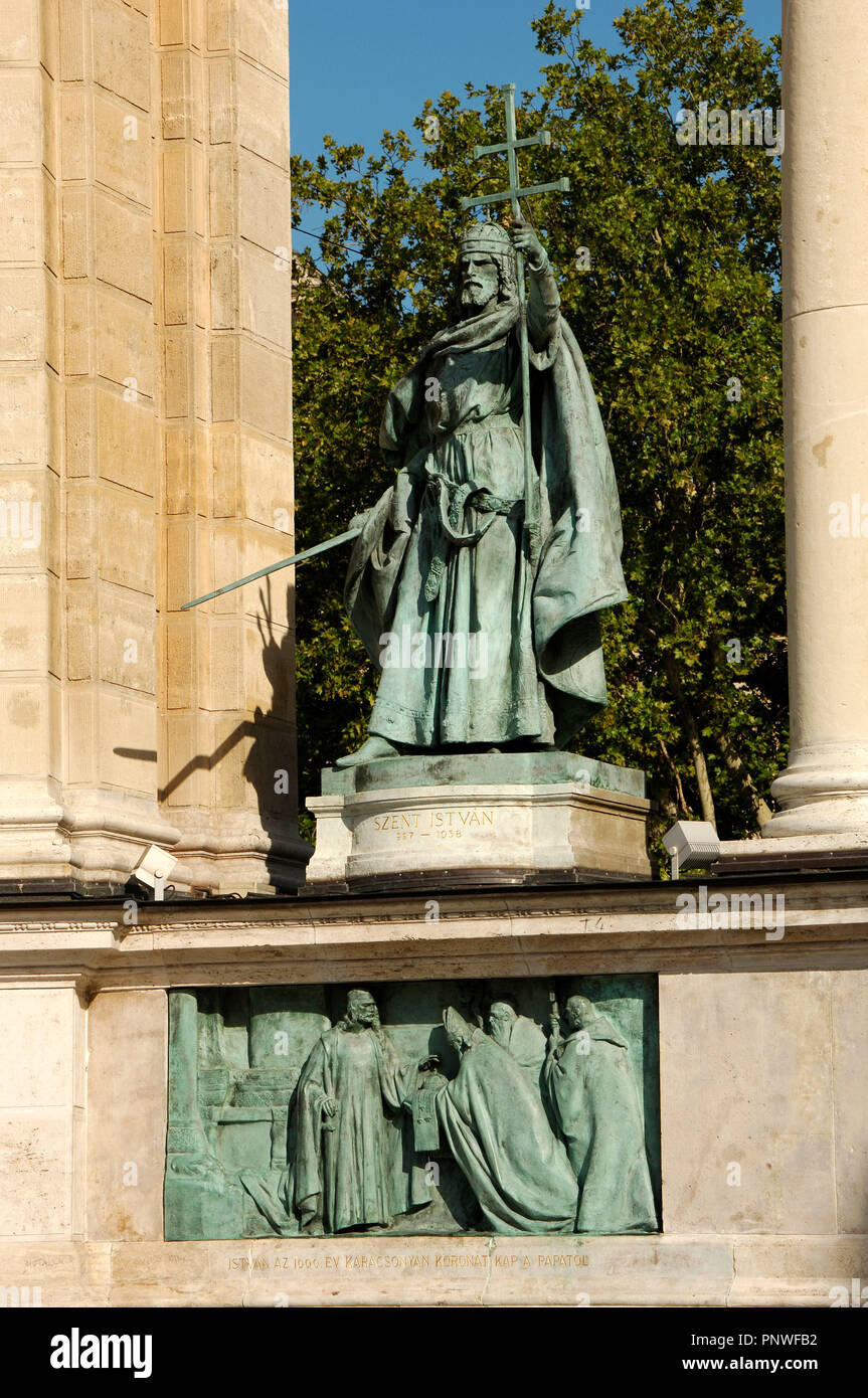 Stephen I of Hungary or Saint Stephen (969-1038). First Christian king of Hungary (1000-1038). Statue located at the Millennium Monument. Budapest. Hungary. Stock Photo