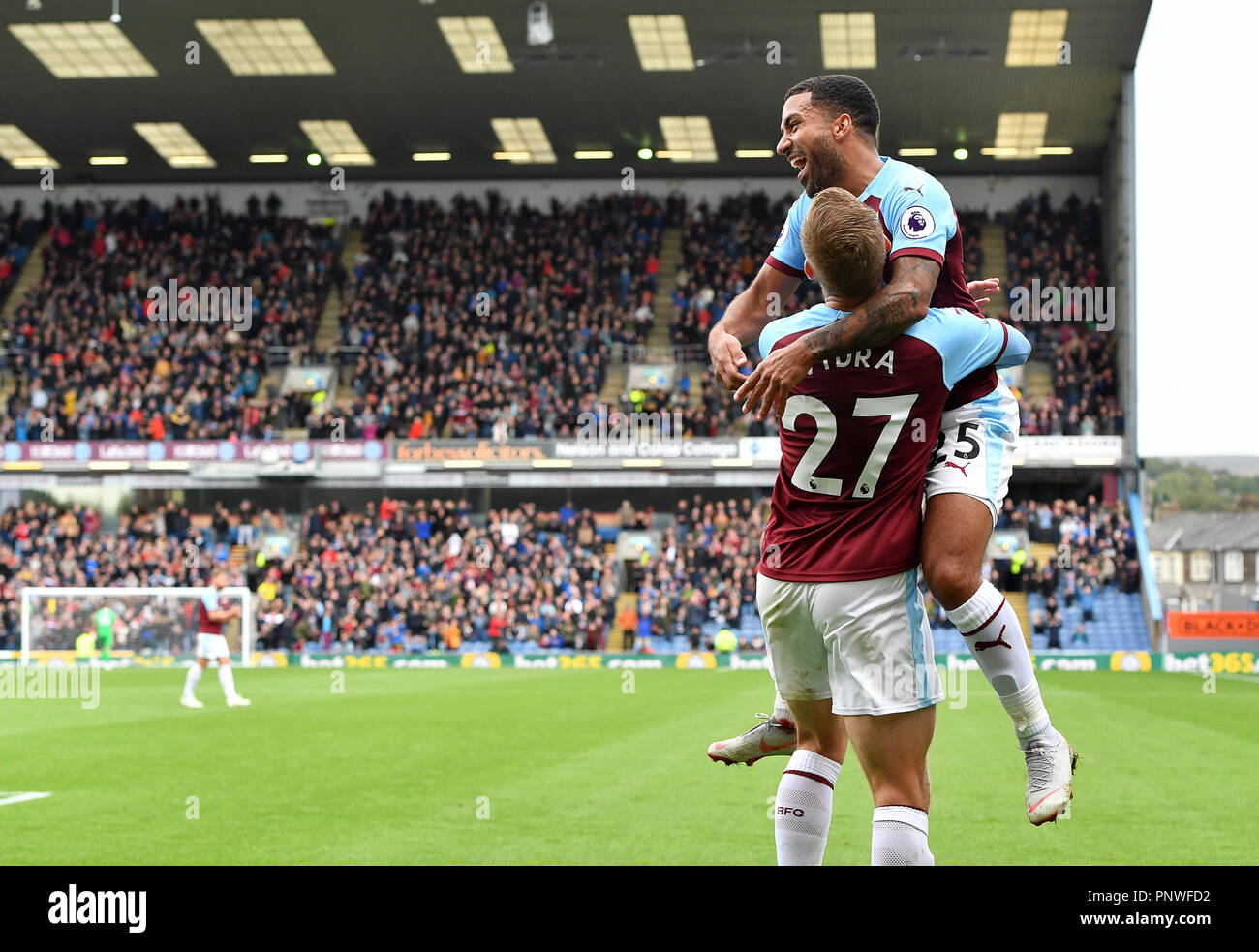 37843960aec Burnley s Matej Vydra (27) celebrates with Aaron Lennon after scoring his  side s first goal of the game during the Premier League match at Turf Moor