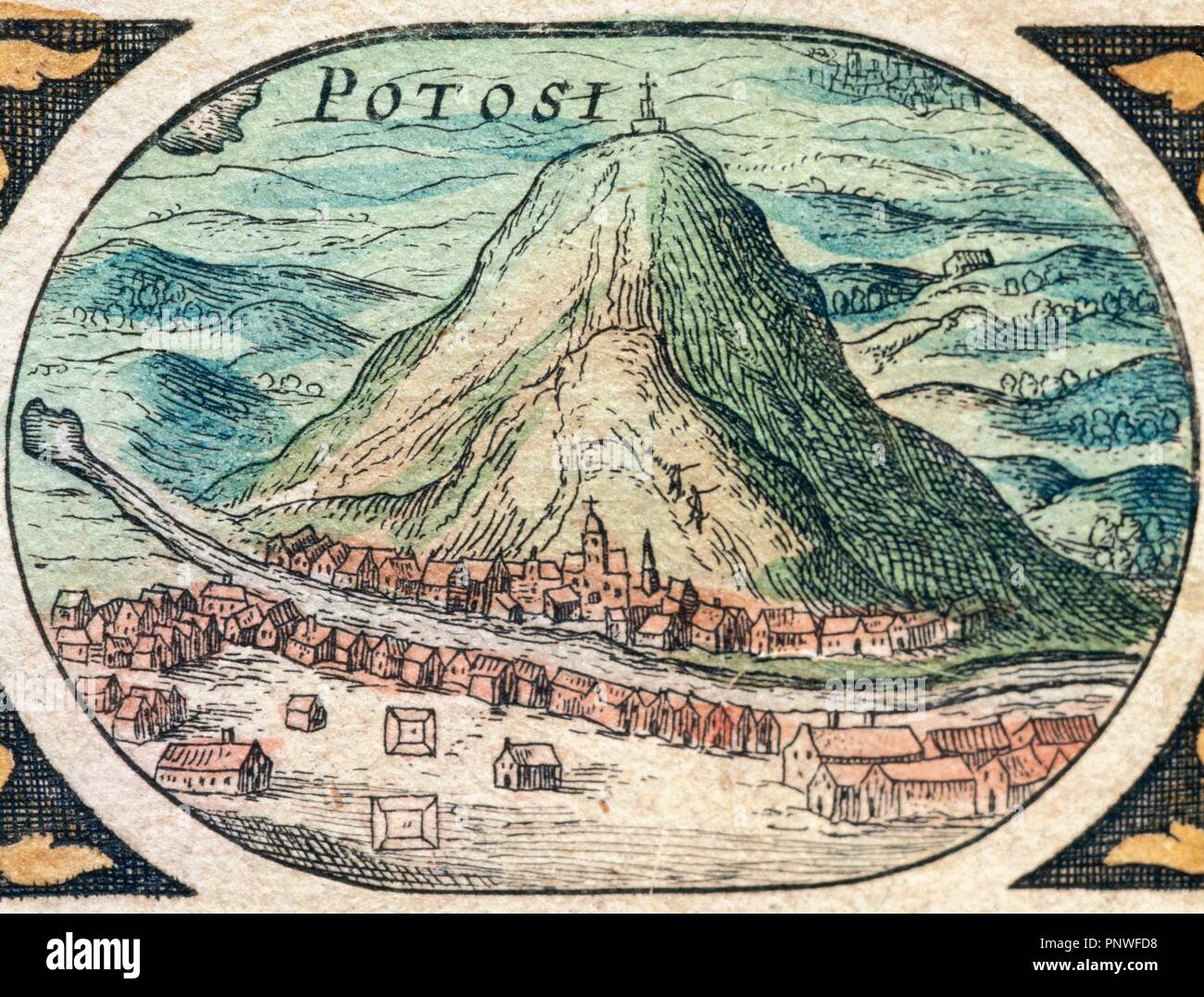 Bolivia. Potosi and the Cerro de Potosi (Rich mountain), also knows as the Cerro Rico. It is the reason for Potosi_'s historical importance, since it was the major supply of silver for Spain during the period of the New World Spanish Empire. Dutch engraving, 1645. - Stock Image