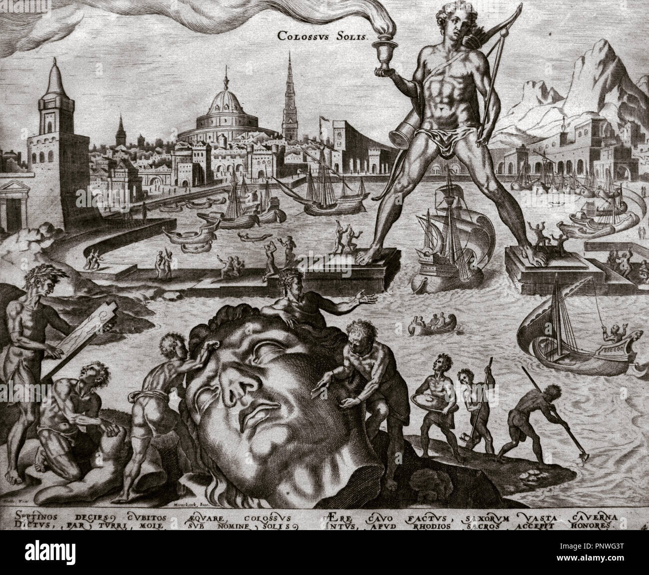 Seven Wonders of the Ancient World. The Colossus of Rhodes. Engraving by Philip Galle (1537-1612) after Martin van Heemskerck (1498-1574). 16th century. The Nelson-Atkins Museum of Art. Kansas City. United States. - Stock Image